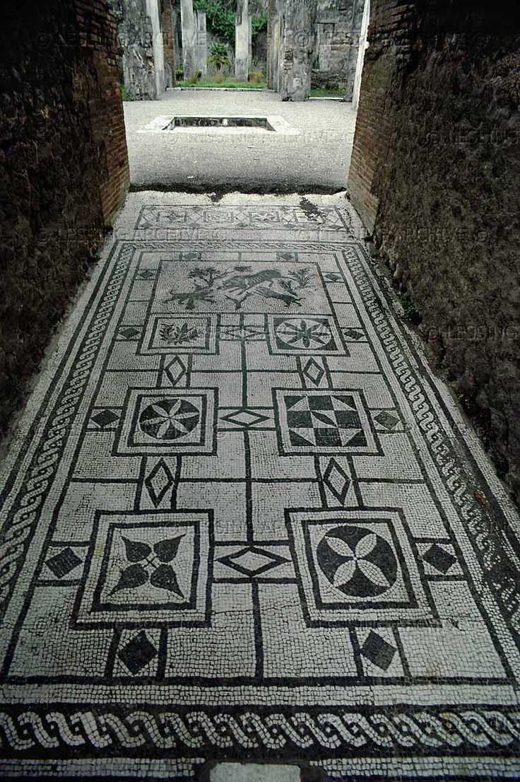 ROMAN MOSAIC 3RD BCE-1ST CE   Mosaic in the corridor leading to an atrium, Pompeii 1st CE   Archaeological Site, Pompeii, Italy