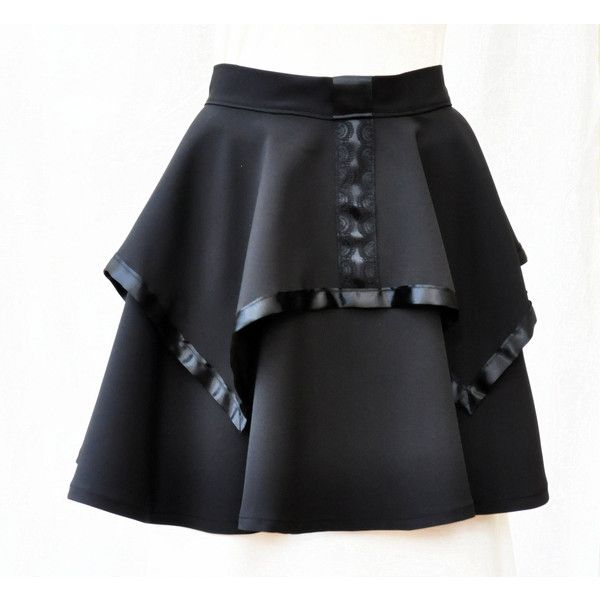 Black Gothic Lolita circle skirt, Double layer Black Gothic Skirt,... (€38) ❤ liked on Polyvore featuring skirts, knee length circle skirt, skater skirts, flared skirt, short lace skirt and high-low skirt