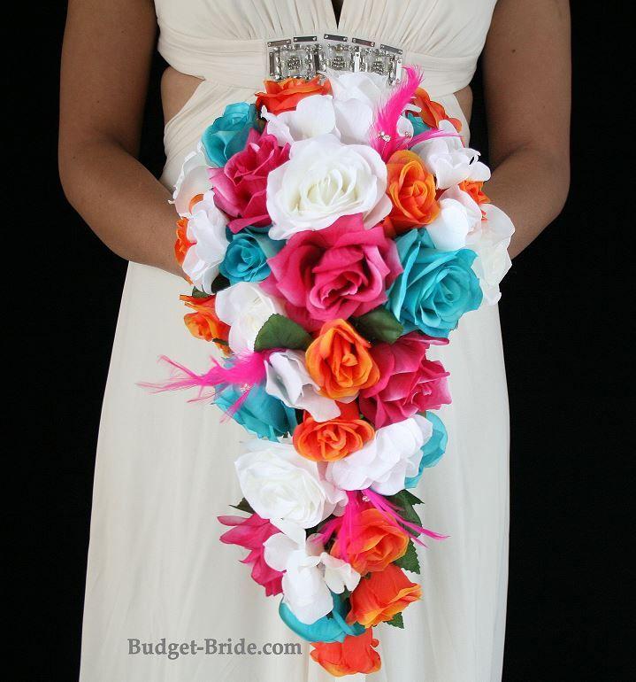Cascading Hot Pink, Orange, Turquoise And White Wedding