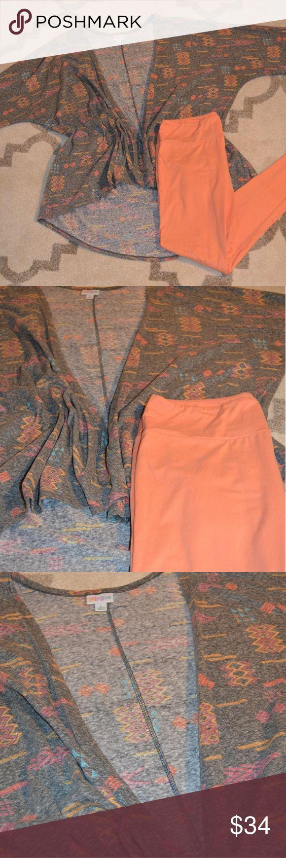 LuLaRoe Lindsay & TC leggings Heathered Aztec Lindsay worn twice, washed according to LLR care instructions with matching peach/orange TC leggings LuLaRoe Tops Tunics