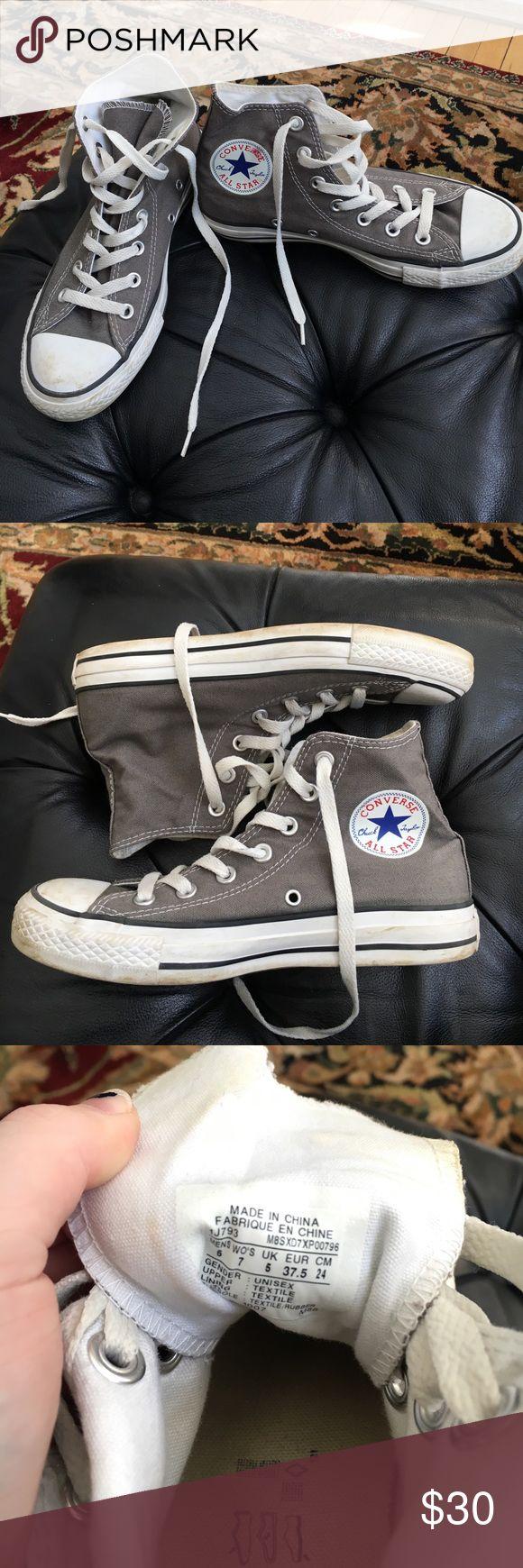 Grey high top converse gently worn grey high top converse size 7 women Converse Shoes Sneakers