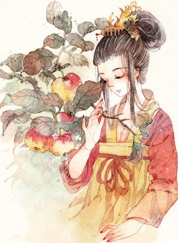 watercolor illustration 柿子【?-零届0rz__涂鸦王国插画