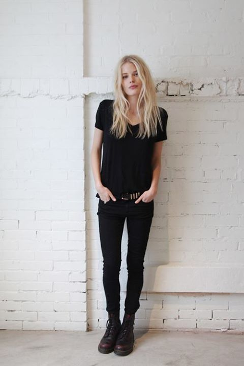 Petite Fashion:: Anytime, All Black V-Neck paired with Black Skinny Jeans, and Classic Dr. Martens. ♡