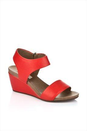 Hakiki Deri Kırmızı Kadın Dolgu Topuk Ayakkabı 15YTO-1208