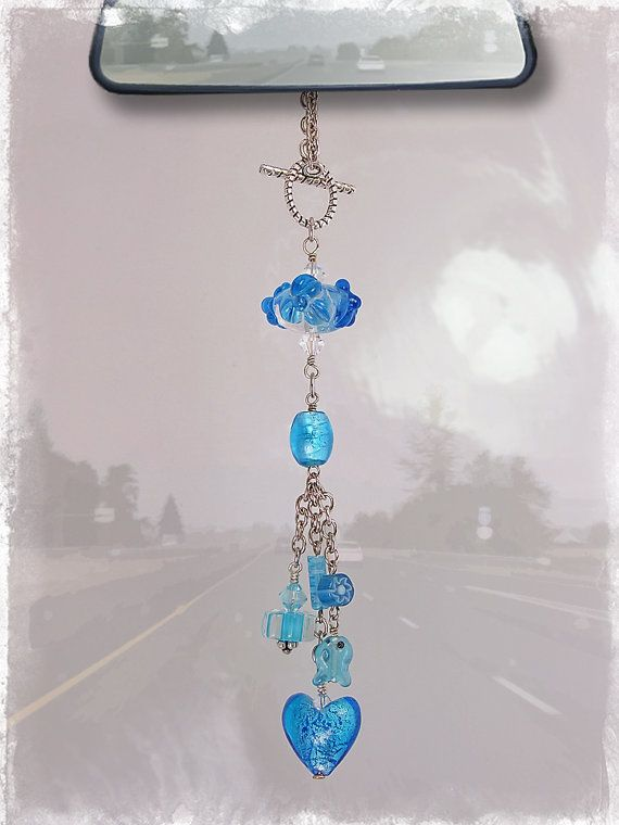 Turquoise Car Charm  Rear View Mirror Car by OurBeadBox on Etsy, $15.00