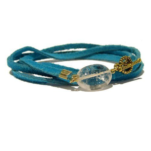 """Quartz Bracelet 23 Wrap Clear Stone Oval Gold Clasp Wraparound Turquoise Leather Natural Rock Anklet 33"""" I Dig Crystals. $45.00. Chakra Balancing: All Chakras. Measures: approx 33""""L (quartz: 0.6"""" x 0.5""""). Art Jewelry: natural quartz wraparound leather bracelet. Stone Properties: Quartz is the master healing stone, enhancing self-healing and expanding the aura. One-of-Kind: handmade gifts by I Dig Crystals are made in the USA"""