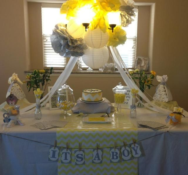 """Idea starter- Love the yellow and grey and the chevron pattern. """"Yellow and Grey Baby Shower""""   Catch My Party"""
