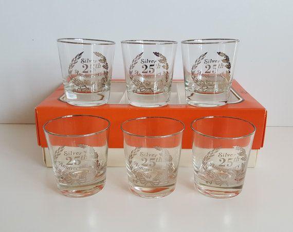 Vintage Cutler Fine Blown Beverage Glasses 25th by RetroEnvy21