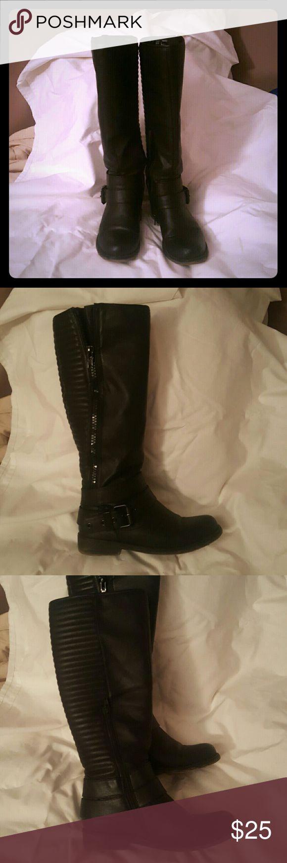 Black Aldo Boots Black Aldo Boot buckle on side zips on inner leg Aldo Shoes Combat & Moto Boots
