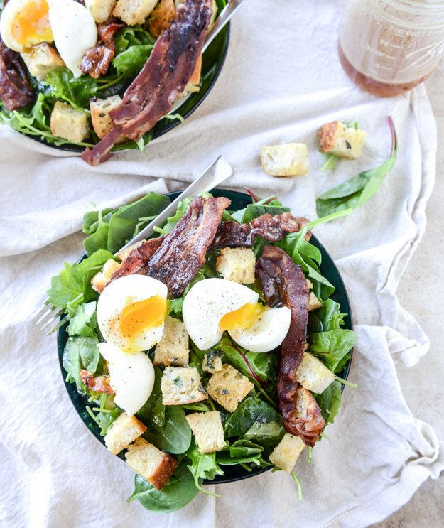 Baby Kale Breakfast Salad with Soft-Boiled Eggs and Maple-Bacon Vinaigrette