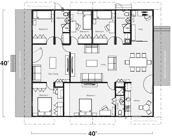 5 bedroom 3 bathroom building layout would make this 4 - Average cost of rewiring a 3 bedroom house ...