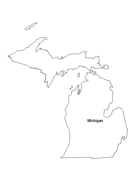 Printable Map of the State of Michigan - ePrintableCalendars.com