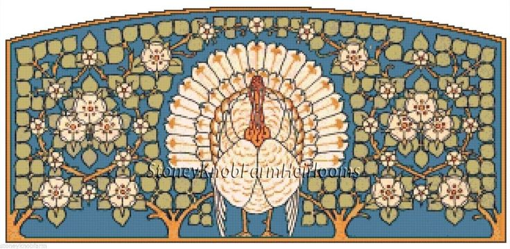 Turkey Art Nouveau ~ Cross Stitch Pattern #StoneyKnobFarmHeirlooms #Frame