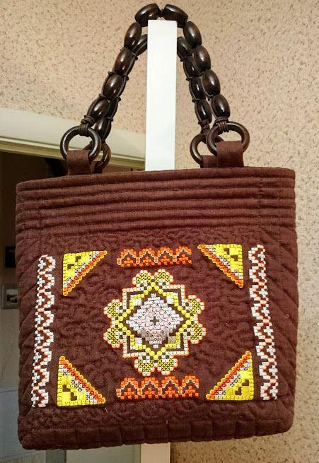 сумка, машинная вышивка крестиком, художественная стежка