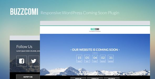 BuzzComi - Responsive WordPress Coming Soon Plugin   http://codecanyon.net/item/buzzcomi-responsive-wordpress-coming-soon-plugin/5401757?ref=damiamio           BuzzComi is fully responsive, simple, clean and mobile friendly coming soon / under construction / maintenance plugin with nice countdown timer, subscribe and contact forms. BuzzComi comes with power settings to help you fully customize your WordPress coming soon page.  You can test it here User: demo Pass: demo  HTML version is…