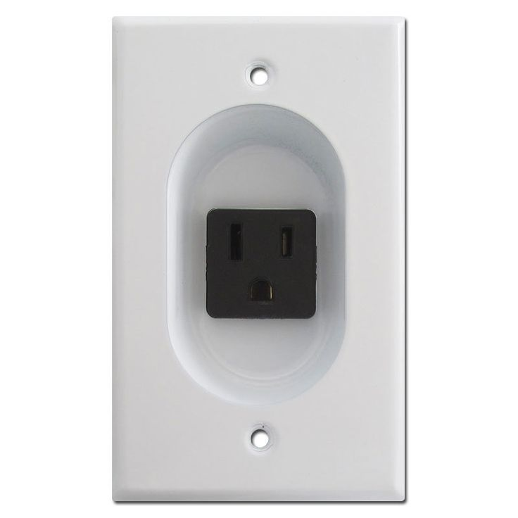 White 15A Recessed Outlet for Flat Panel TV   Kyle Switch Plates