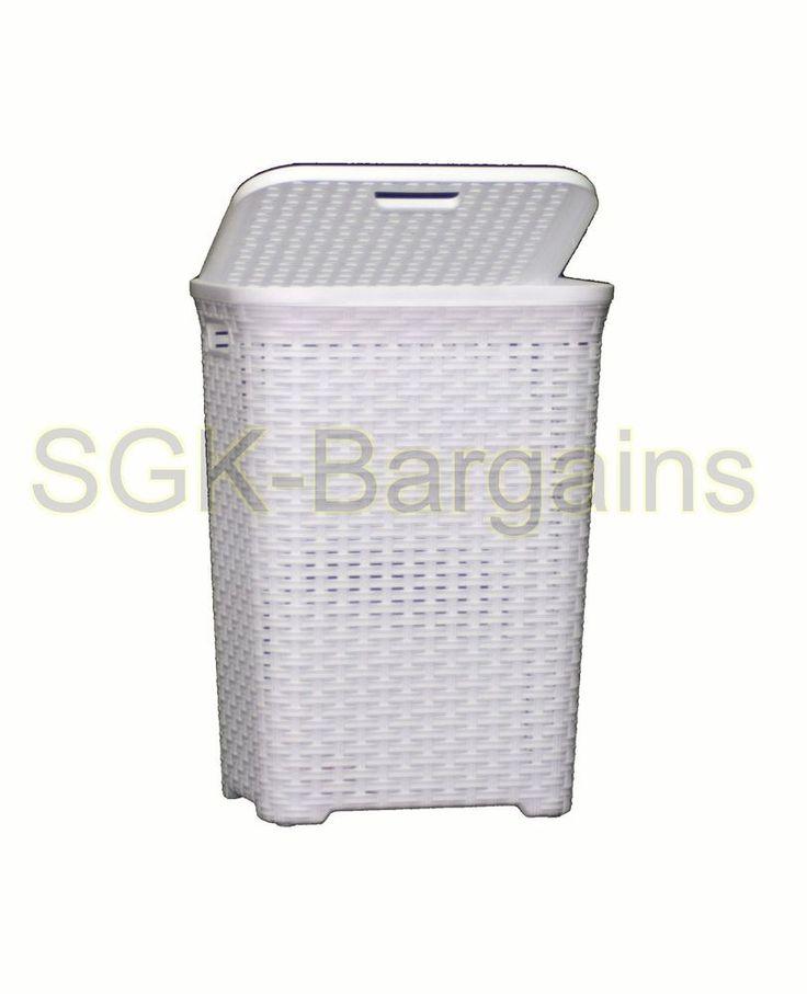 60L Large Rattan Plastic Laundry Bin Washing Bin Multi Storage Basket Box WHITE in Home, Furniture & DIY, Storage Solutions, Storage Baskets   eBay