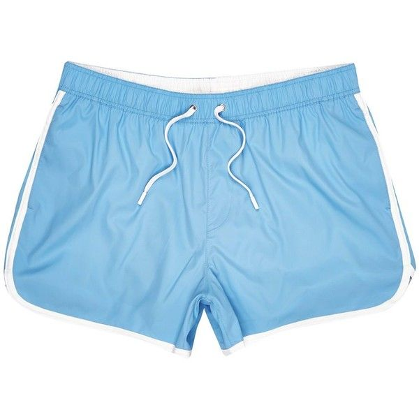 River Island Light blue short swim shorts ($21) ❤ liked on Polyvore featuring men's fashion, men's clothing, men's swimwear, shorts, mens short swimwear, short mens clothing and tall mens clothing