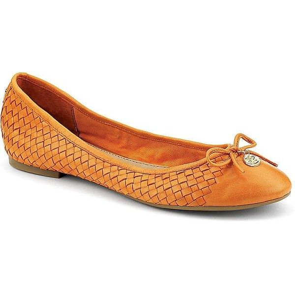 Sperry Top-Sider Ariela Woven Ballet Flat ($98) ❤ liked on Polyvore featuring shoes, flats, orange woven leather, ballerina shoes, orange ballet flats, woven ballet flats, woven flats and ballet pumps