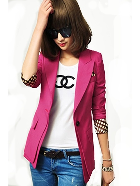 Rose Korean Fashion Retro Candy-Colored Slim Women Suit XS/S/M/L/XL/XXL XVR910ro