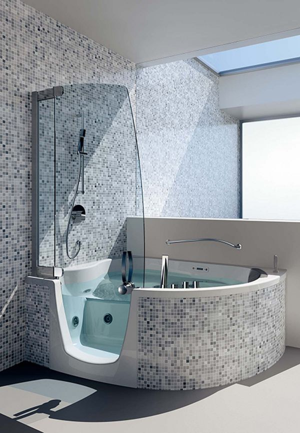 Teuco Corner Whirlpool Shower Integrates Shower With Bathtub ... on small bathroom remodel ideas, master bathroom designs, small bathroom bathtub tile ideas, small half bathroom with shower and glass walls, small standalone bathtubs, doorless shower designs,