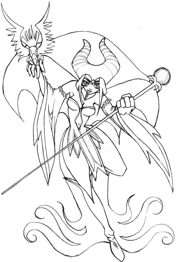 Japanese Manga Maleficent Coloring Pages : Color Luna in ...