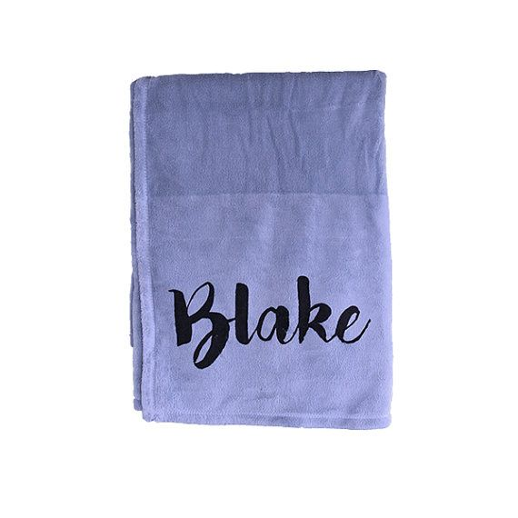 Personalised baby blanket  boy blue blanket with by TheUniqueCo