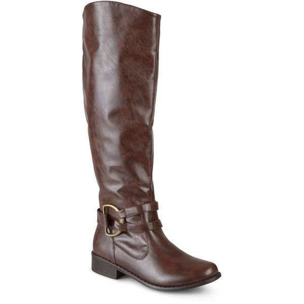 Journee Collection Charming Knee-High Riding Boots - Wide Calf ($70) ❤ liked on Polyvore featuring shoes, boots, knee-high boots, wide calf equestrian boots, low heel boots, riding boots, wide calf boots and knee high buckle boots
