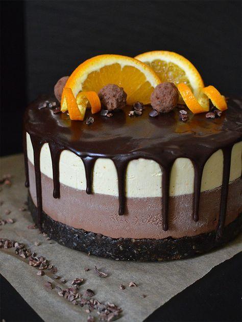 Raw Doppel chocolate orange Käsekuchen, mit einem zäh Brownie Basis, reiche Sc…
