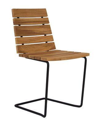 Scopri Sedia Grinda -/ Legno & metallo, Teck / Struttura nera di Skargaarden, Made In Design Italia