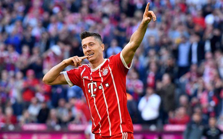 Download wallpapers Bayern Munich, 4k, Robert Lewandowski, goal, joy, football, Germany, Bundesliga, polish footballers