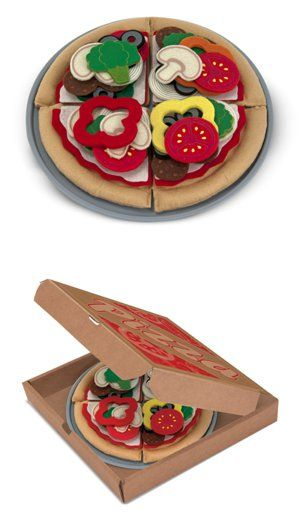 Felt Play Food Pizza Set + Box // Pizza de fieltro