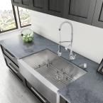 Vigo All-in-One Farmhouse Apron Front Stainless Steel 36 in. Single Bowl Kitchen Sink and Faucet Set-VG15041 - The Home Depot