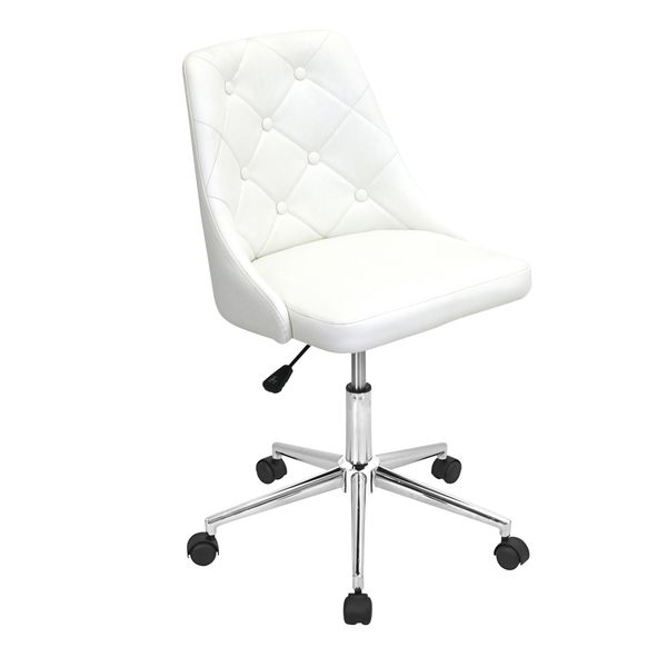 Update your home office with this stylish armless office chair. This elegant fully upholstered frame features a fashionable button-tufted backrest and smooth rolling casters. Materials: PU/ faux leath