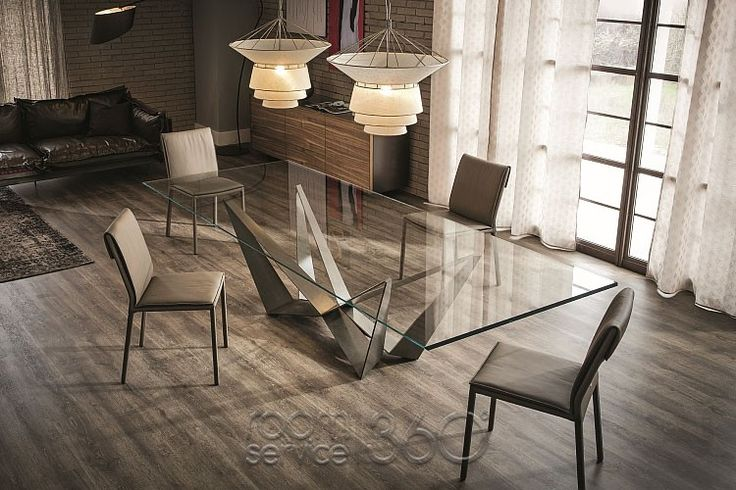 Skorpio Dining Table, 4 Isabel Chairs and 2 Bolero Chandeliers by Cattelan Italia