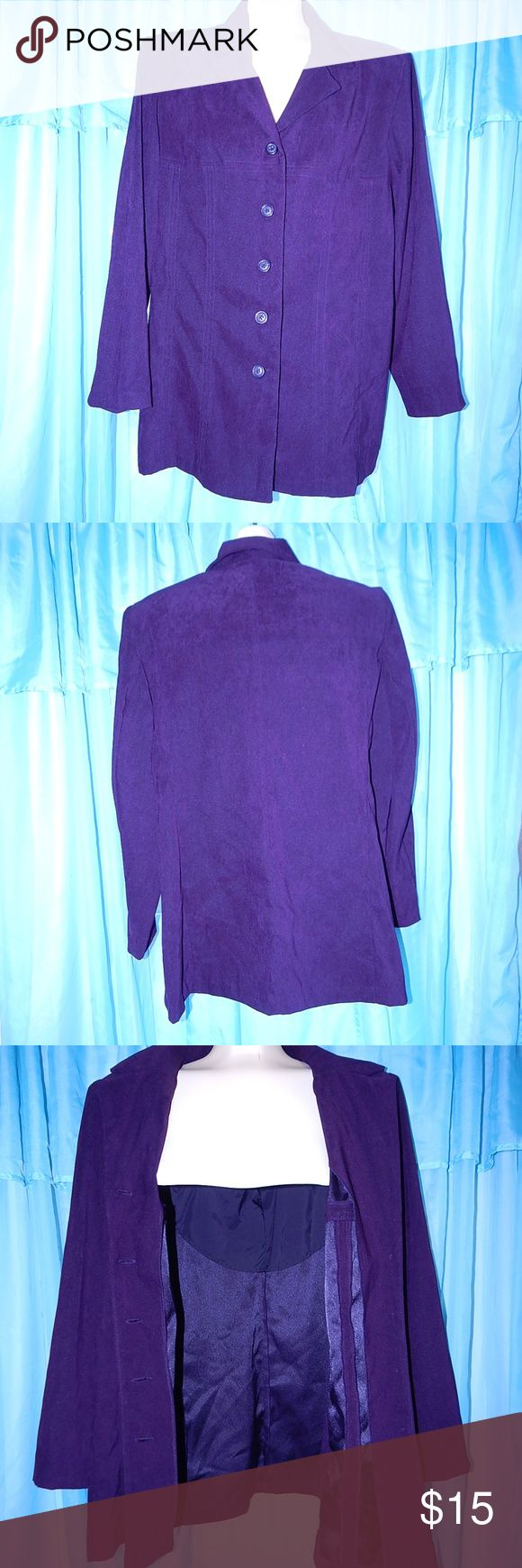 """Fashion Bug STRETCH PURPLE Suede Feel Blazer S 14 This is a Fashion Bug Stretch velveteen/suede feel (97% polyester/3% spandex) purple blazer, size 14.  The style # is 308167X, cut 703694, RN 83082.  The length is 31"""".  Reasonable offers welcome!  All of my items come from a smoke and fur free home. Fashion Bug Jackets & Coats Blazers"""