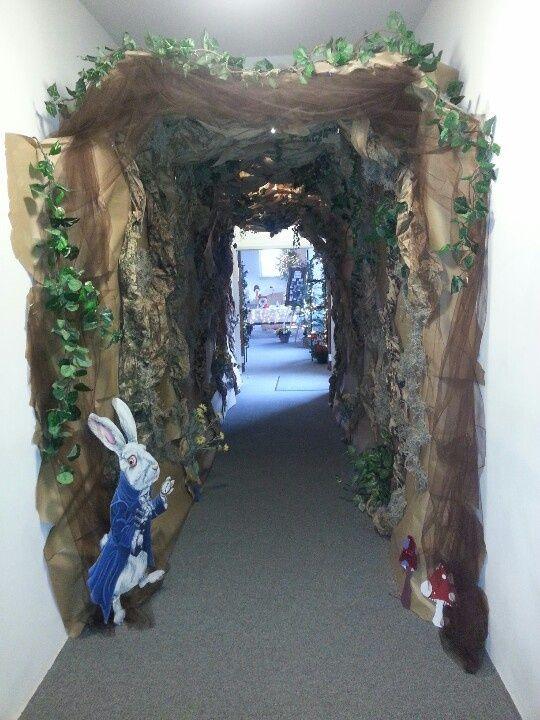 rabbit hole door way ivory oversized flowers will look great