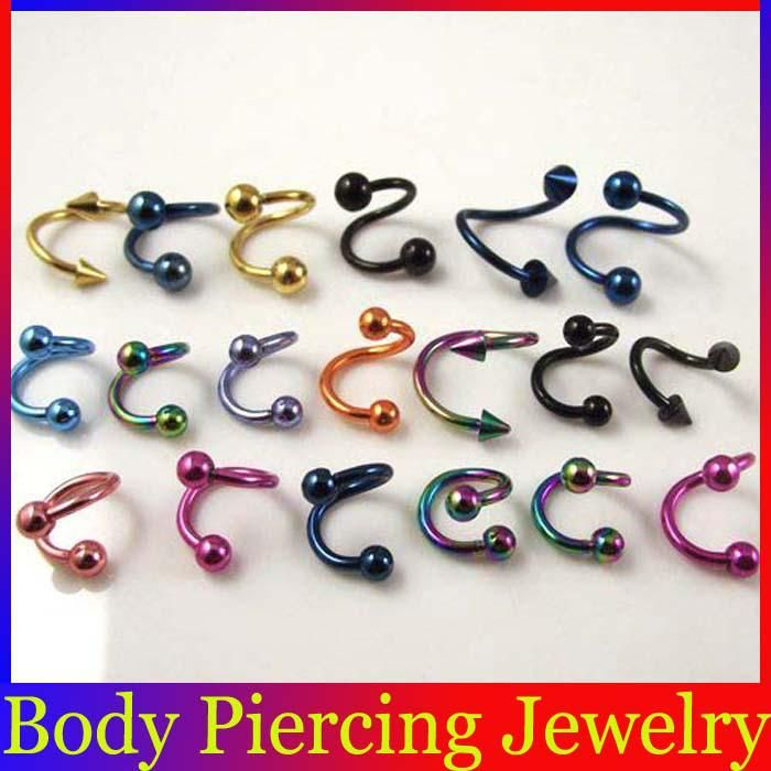 Wholesale Titanium Anodized Spiral Twister Eyebrow Rings Nose Rings Labret Lip Studs Body Piercing Jewelry BJ116 Online with $0.24/Piece | D...