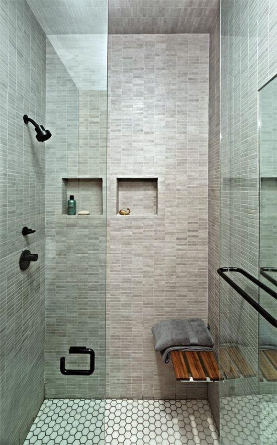 Decoracion Baño Social Pequeno:Grey Tile Showers for Small Bathrooms