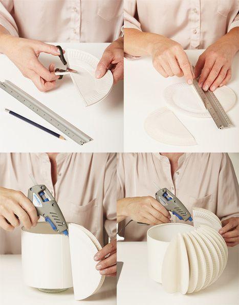 Como hacer una preciosa lampara con platos de papel una - Como hacer una lampara ...