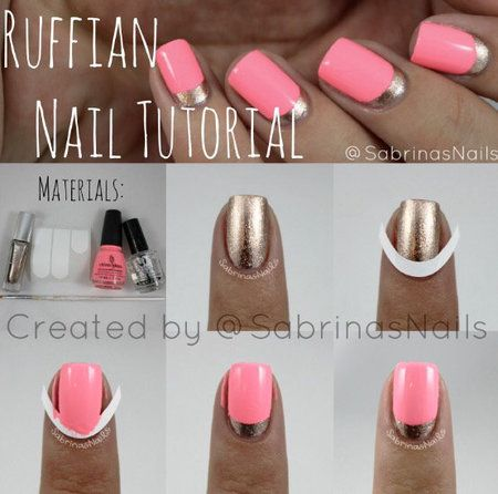 Ruffian nails ruffian nail tutorial pink nails halfmoonmani nailart bellashoot bellashoot prinsesfo Images