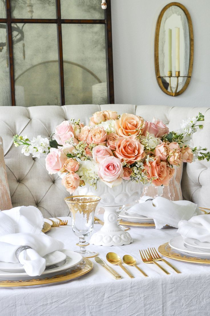 Romantic Spring Dining Table By Decor Gold Designs Dining Table Decor Centerpiece Dining Table Decor Dining Room Centerpiece