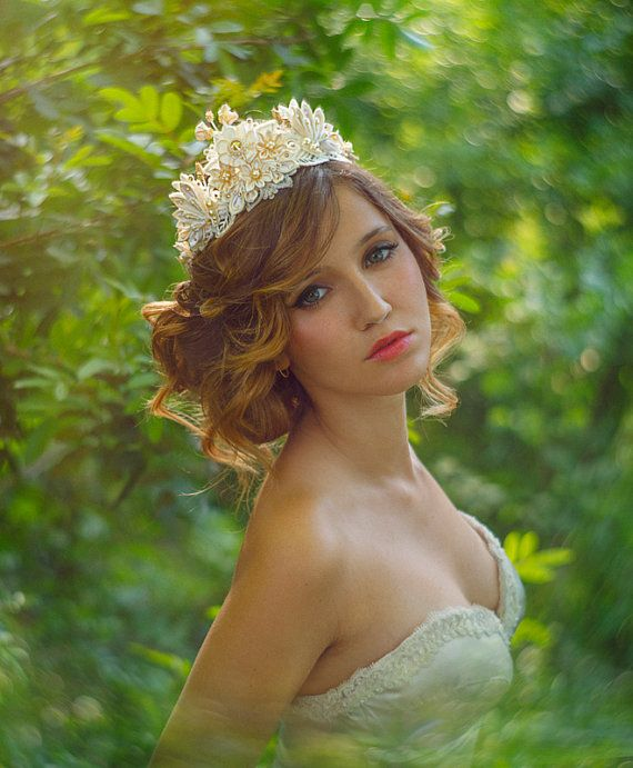 Helene Ivory & Honey Bridal Flower Crown Tiara Silk Flowers Swarovski Crystals Hair Jewelry unique alternative