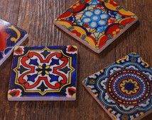 Stone coasters - Mexicaanse tegel ontwerp