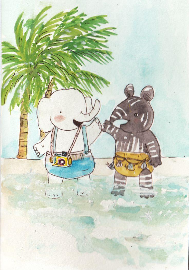 yiha! senangnyaa main di pantai. busa air laut menyapu kaki, matahari bersinar dan menghangatkan. Apalagi jika bersama teman tersayang!
