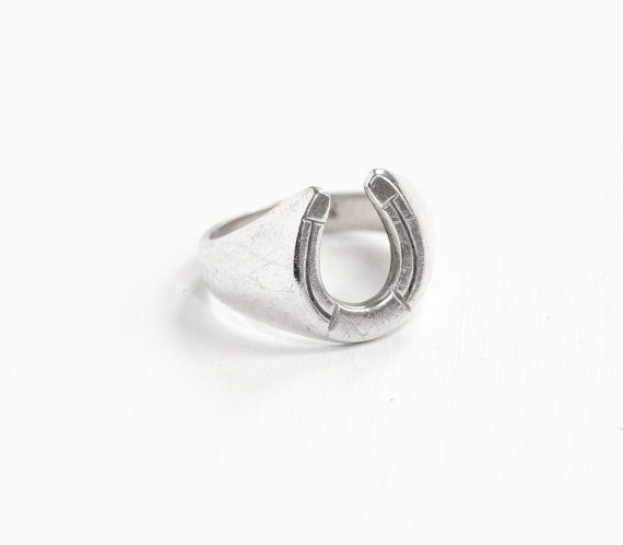 Vintage Sterling Silver Horseshoe Ring Retro By