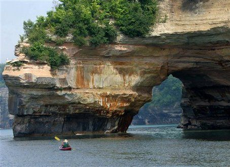 """Pictured Rocks, Michigan. Right on the shores of Lake Superior, whether you're hiking on top or kayaking down below, you will experience some of the most beautiful scenery ever. And, if you feel like a really """"brisk"""" little bath, I definitely suggest taking a dip in the Lake..."""