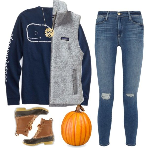 A fashion look from October 2016 featuring Patagonia vests, Frame jeans and L.L.Bean boots. Browse and shop related looks.