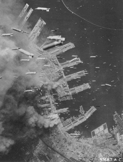 The bombing of the Japanese port of Kobe, 5 June 1945