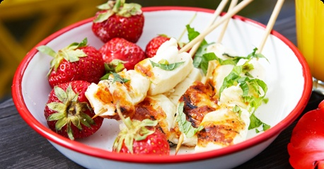 Halloumi-style grill cheese with strawberries